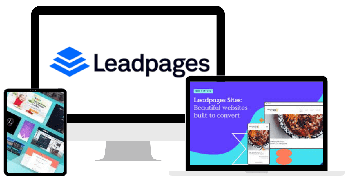 Leadpages Mockup with Logo